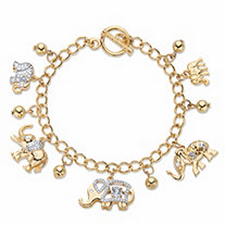 Round Crystal Elephant Charm Beaded Toggle Bracelet in Gold Tone 7.5