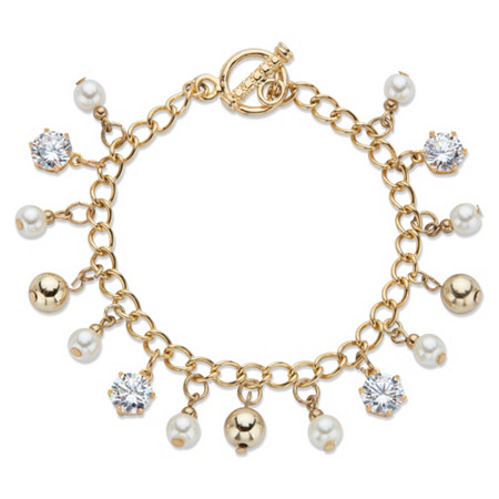 """Round Crystal and Genuine Cultured Freshwater Pearl Beaded Charm Toggle Closure Bracelet in Gold Tone 7.5"""" at PalmBeach Jewelry"""