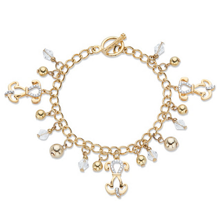 """Round Crystal Puppy Dog Charm Toggle Closure Bracelet in Gold Tone 7.5"""" at PalmBeach Jewelry"""