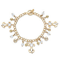Round Crystal Puppy Dog Charm Toggle Closure Bracelet in Gold Tone 7.5