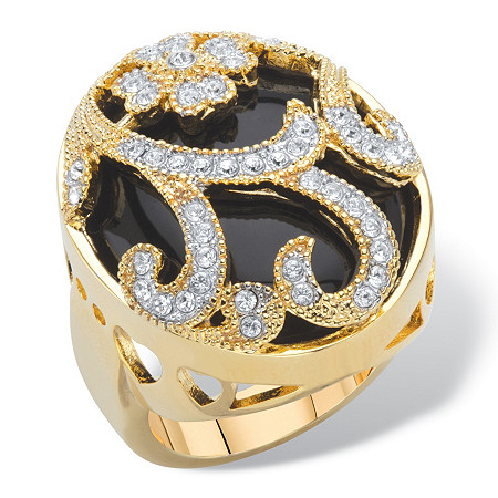 Oval-Cut Genuine Black Onyx and Pave Crystal Scrolling Floral Dome Cocktail Ring Gold-Plated at PalmBeach Jewelry
