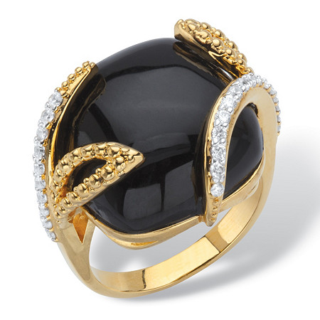 .39 TCW Genuine Black Onyx and Pave Cubic Zirconia Cabochon Cocktail Ring 14k Gold-Plated at PalmBeach Jewelry