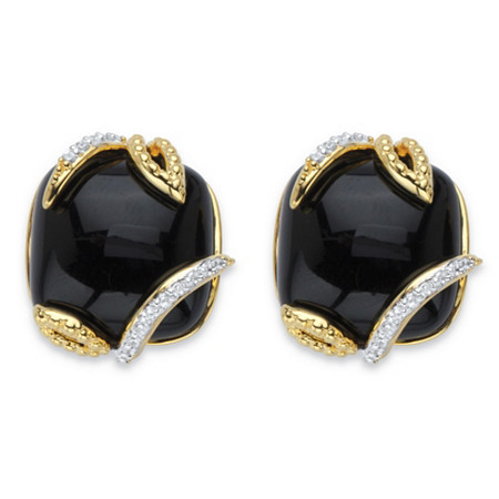 Genuine Black Onyx and Pave Cubic Zirconia Floral Cabochon Earrings .48 TCW 14k Gold-Plated at PalmBeach Jewelry
