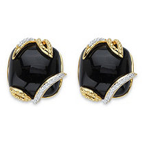 Genuine Black Onyx and Pave Cubic Zirconia Floral Cabochon Earrings .48 TCW 14k Gold-Plated