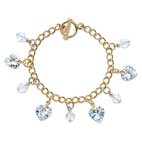 Heart-Shaped And Round Crystal Charm Toggle Bracelet
