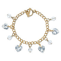 Heart-Shaped and Round Crystal Charm Toggle Bracelet in Gold Tone 7.5