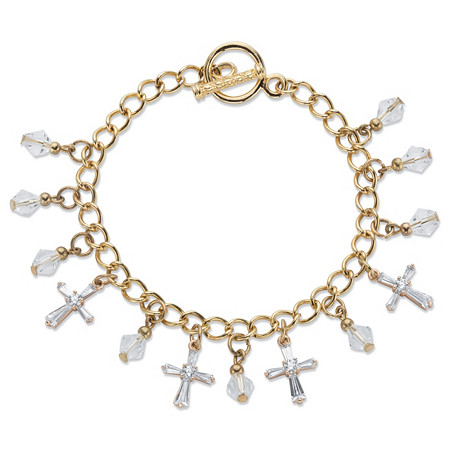 "Cross and Round Crystal Gold Tone Charm Toggle Bracelet 7.5"" at PalmBeach Jewelry"