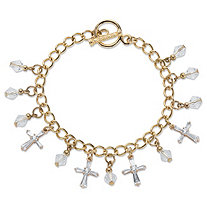 Cross and Round Crystal Gold Tone Charm Toggle Bracelet 7.5""