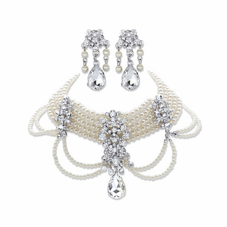 "Pear-Cut and Round Crystal and Simulated Pearl 2-Piece Earring and Choker Necklace Set in Gold Tone 14""-18"" at PalmBeach Jewelry"