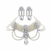"Pear-Cut and Round Crystal and Simulated Pearl 2-Piece Earring and Choker Necklace Set in Gold Tone 14""-18"""