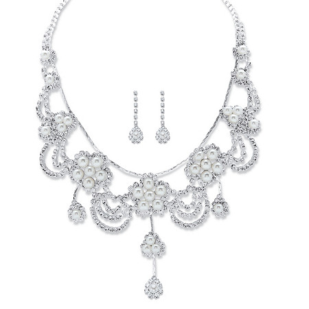 """Round Crystal and Simulated Pearl Floral Scalloped Bib Necklace and Drop Earrings in Silvertone 14""""-18"""" at PalmBeach Jewelry"""