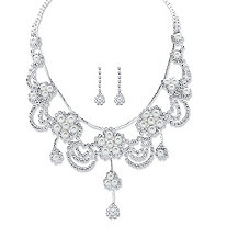 "Round Crystal and Simulated Pearl Floral Scalloped Bib Necklace and Drop Earrings in Silvertone 14""-18"""