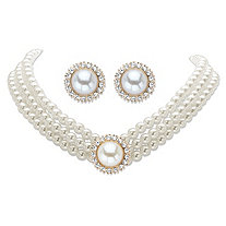 "Round Simulated Pearl and Crystal Gold Tone 2-Piece Stud Earring and Triple-Strand Choker Necklace Set 13""-16"""