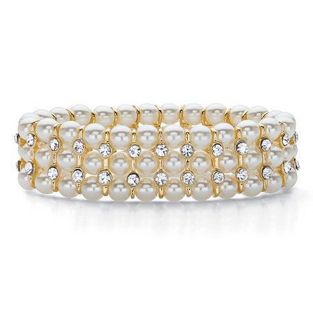"Round Crystal and Simulated Pearl Gold Tone Triple-Row Stretch Bracelet 7"" at PalmBeach Jewelry"