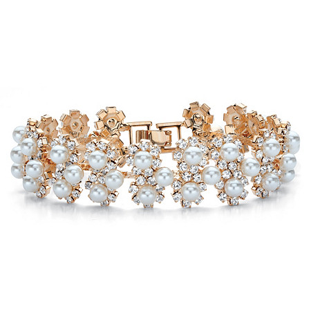 "Round Simulated Pearl and Crystal Floral Halo Cluster Bracelet in Gold Tone 7"" at PalmBeach Jewelry"