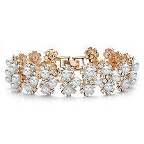 Round Simulated Pearl and Crystal Floral Halo Cluster Bracelet in Gold Tone 7""