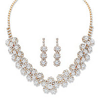 "Round Simulated Pearl and Crystal Gold Tone 2-Piece Floral Halo Cluster Earring and Necklace Set 14""-18"""