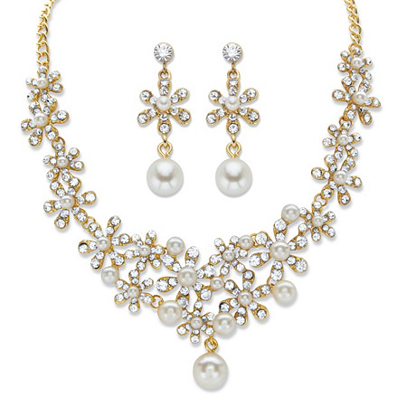 "Round Crystal and Simulated Pearl Gold Tone 2-Piece Floral Drop Earring and Choker Necklace Set 14""-18"" at PalmBeach Jewelry"