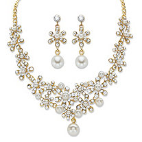 "Round Crystal and Simulated Pearl Gold Tone 2-Piece Floral Drop Earring and Choker Necklace Set 14""-18"""