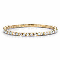 Round Simulated Pearl and Crystal Stretch Bracelet in Gold Tone 7""