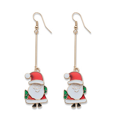 "Red and Green Enamel Santa Claus Drop Earrings in Goldtone 3"" at PalmBeach Jewelry"