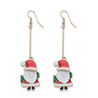 Red And Green Enamel Goldtone Santa Claus Drop Earrings ONLY $6.99