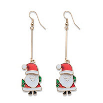 Red and Green Enamel Goldtone Santa Claus Drop Earrings 3""