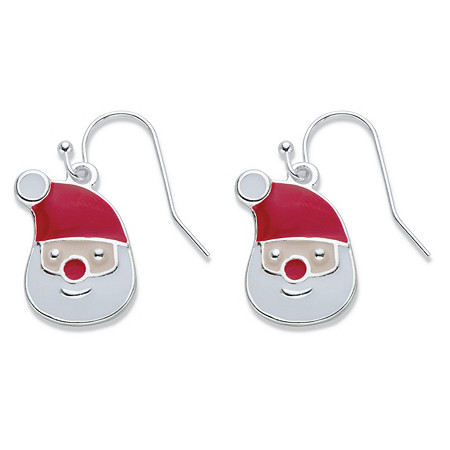 """Red and White Enamel Santa Claus Earrings in Silvertone 1"""" at PalmBeach Jewelry"""