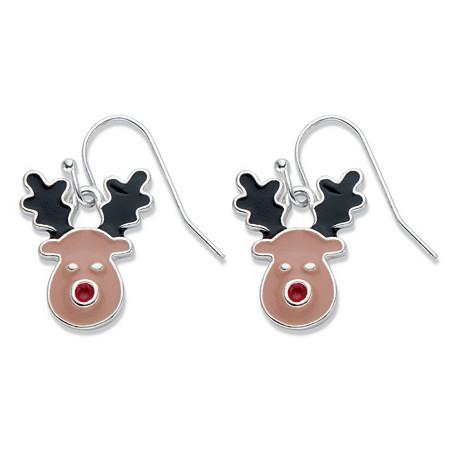 Black and Brown Enamel Rudolph the Reindeer Drop Earrings in Silvertone at PalmBeach Jewelry