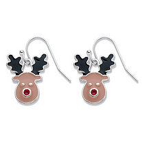 Black and Brown Enamel Rudolph the Reindeer Drop Earrings in Silvertone