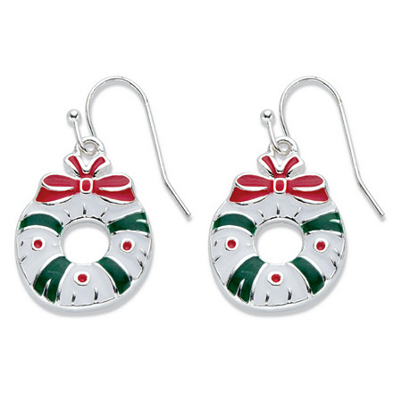 """Red, White and Green Enamel and Silvertone Holiday Christmas Wreath Earrings in Silvertone 3/4"""" at PalmBeach Jewelry"""