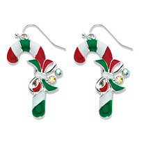 Aurora Borealis Crystal Accent Red, White and Green Enamel Candy Cane Earrings in Silvertone 1.5""