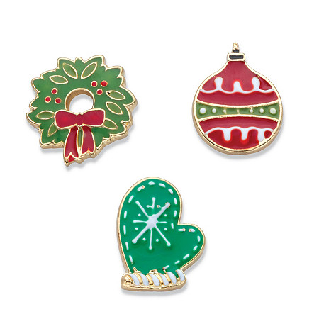 Holiday Red and Green Enamel 3-Pair Christmas Wreath, Ornament and Winter Mitten Button Earring Set in Gold Tone at PalmBeach Jewelry