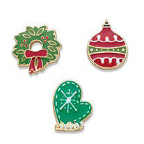 Holiday Red and Green Enamel 3-Pair Christmas Wreath, Ornament and Winter Mitten Button Earring Set in Gold Tone