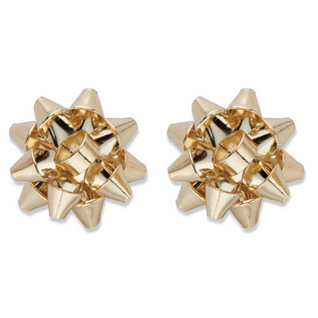 Gold Christmas Bow Stud Earrings in Goldtone 15mm at PalmBeach Jewelry