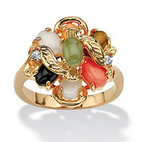 Oval Genuine Coral, Opal, Jade, Onyx and Tiger's-Eye Cluster 14k Gold-Plated Ring