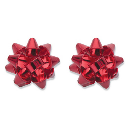 Red Polished Enamel Christmas Bow Stud Earrings in Silvertone 15mm at PalmBeach Jewelry