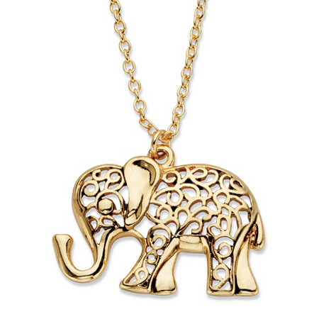 "Filigree Antiqued Elephant Pendant Necklace in Gold Tone 18""-21"" at PalmBeach Jewelry"