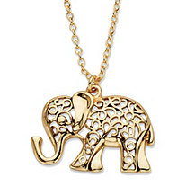 "Filigree Antiqued Elephant Pendant Necklace in Gold Tone 18""-21"""
