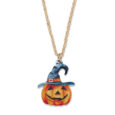 "Orange Enamel Pumpkin and Witches Hat Halloween Pendant Necklace in Goldtone and Black Ruthenium-Plated 16""-19"" at PalmBeach Jewelry"