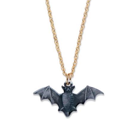"Black Enamel and Black Halloween Bat Pendant Necklace Ruthenium-Plated 16""-19"" at PalmBeach Jewelry"