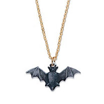 Black Enamel and Black Halloween Bat Pendant Necklace Ruthenium-Plated 16