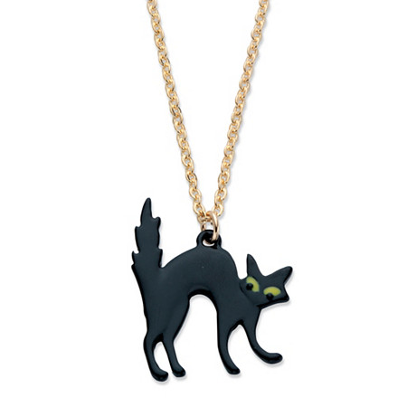 """Black EnamelHalloween Cat Pendant Necklace in Goldtone and Black Ruthenium-Plated 16""""-19"""" at PalmBeach Jewelry"""