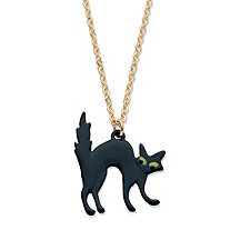 Black EnamelHalloween Cat Pendant Necklace in Goldtone and Black Ruthenium-Plated 16