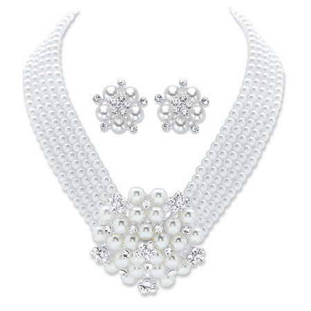 """Round Crystal and Simulated Pearl 2-Piece Multi-Strand Earring and Multi-Strand Necklace in Silvertone 15""""-17"""" at PalmBeach Jewelry"""