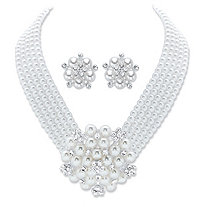 "Round Crystal and Simulated Pearl 2-Piece Multi-Strand Earring and Multi-Strand Necklace in Silvertone 15""-17"""