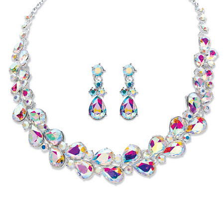 "Pear-Cut Aurora Borealis Crystal 2-Piece Drop Earring and Graduated Necklace Set in Silvertone 16""-18"" at PalmBeach Jewelry"