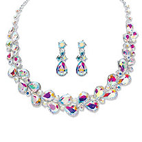 "Pear-Cut Aurora Borealis Crystal 2-Piece Drop Earring and Graduated Necklace Set in Silvertone 16""-18"""