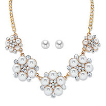 Round Simulated Pearl and Crystal Gold Tone Floral Cluster Bib Necklace and Stud Earring Set 17