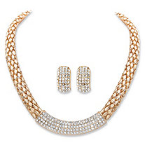 "Round Crystal Gold Tone 2-Piece Earring and Snake-Link Choker Necklace Set 17""-20"""